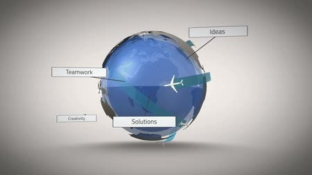 авиация : Digital animation of Airplane flying around world with question words