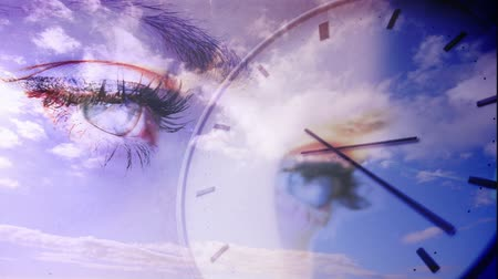 múló : Digital animation of Time passing concept with eyes and blue sky