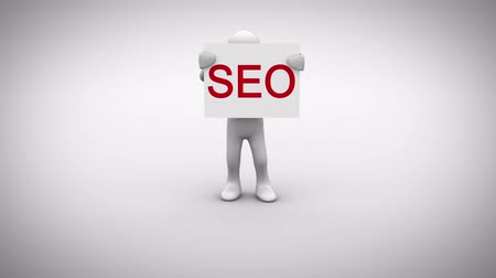 seo : Digital animation of White character holding sign saying seo
