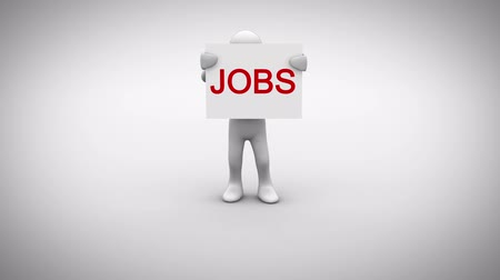 praca : Digital animation of White character holding sign saying jobs