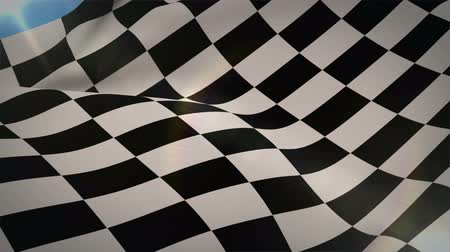 quadriculada : Digital animation of Checkered flag blowing in wind