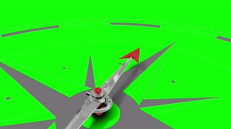 pusula : Digital animation of Compass pointing on green screen