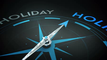 pusula : Digital animation of Compass pointing to holidays