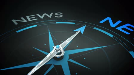 pusula : Digital animation of Compass pointing to news