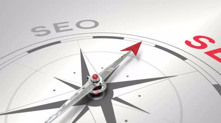 seo : Digital animation of Compass pointing to seo Stock Footage