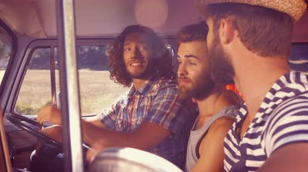 hipster : In high quality format hipster friends on road trip on a summers day Stock Footage