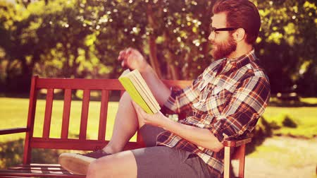 hipster : In high quality 4k format handsome hipster reading in the park on a summers day Stock Footage