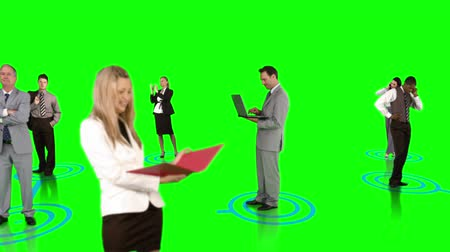 business man : Digital animation of Business people connecting on green background Stock Footage