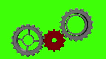 harmonia : Digital animation of Cogs and wheels turning on green screen