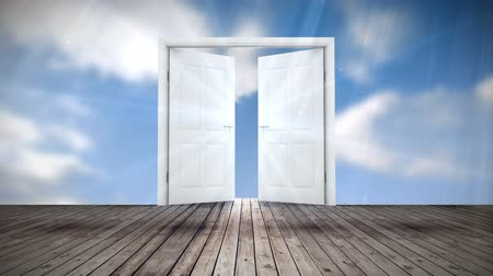 opening : Digital animation of Door opening to blue sky Stock Footage