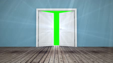 drzwi : Digital animation of Door opening to green screen