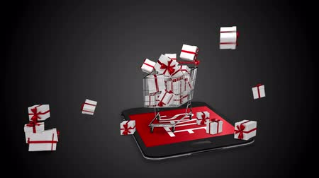 damlatma : Digital animation of presents falling in trolley