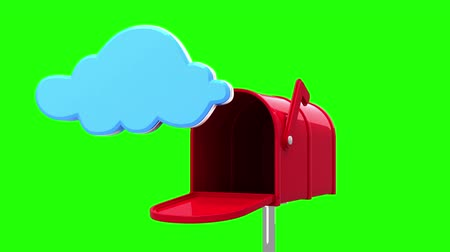 levelezési : Digital animation of cloud symbol in the mailbox on green background