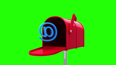 levelezési : Digital animation of at symbol in the mailbox on green background Stock mozgókép