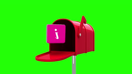 levelezési : Digital animation of information symbol in the mailbox on green background