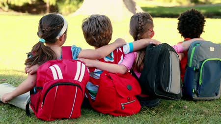 educar : School children sitting on grass on a sunny day Stock Footage