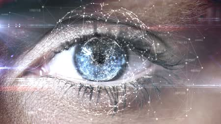 cílios : Digital composite of Blinking eye with tech interface