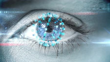 reconhecimento : Digital composite of Blinking eye with tech interface