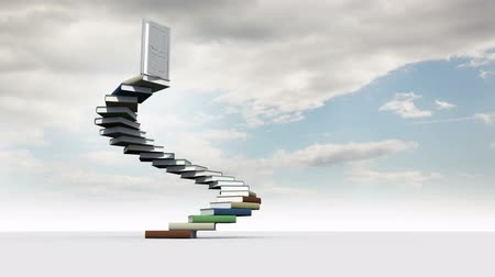 akademický : Digital aniomation of steps made of books in the cloudy sky