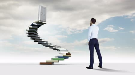 lépések : Digital animation of Businessman looking at steps made of books