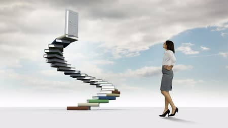 okazja : Digital animation of businesswoman looking at steps made of books in the cloudy sky