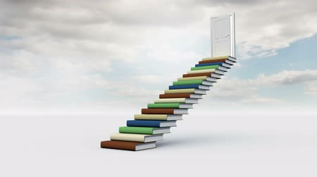 znalost : Digital animation of stair made of books with an opening door in the cloudy sky