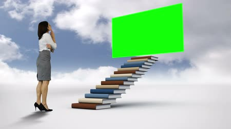 akademický : Digital animation of businesswoman looking at stairs with a green screen in the cloudy sky