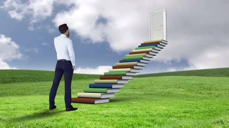 znalost : Digital animation of businessman looking at stair made of books on a green field Dostupné videozáznamy