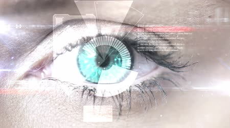 reconhecimento : Digital animation of Eye scanning a futuristic interface