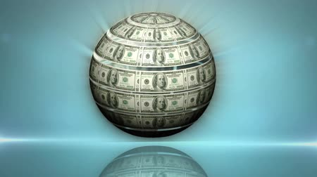 waluta : Digital animation of globe made of dollars spinning