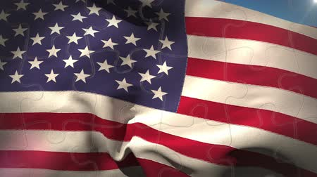 кусок : Digital animation of USA flag waving in the wind