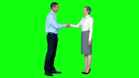 встреча : Business people shaking hands on green screen background