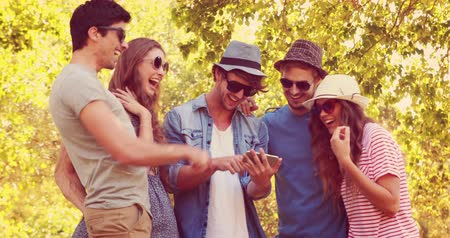 telefones : Happy friends watching photos on a smartphone in the park on a sunny day