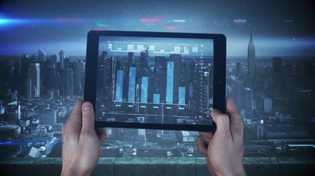 analiz : Digital animation of a new tablet interface being used in a big city
