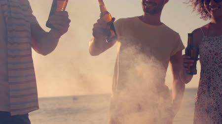cerveja : Happy friends toasting beers on the beach in slow motion Vídeos