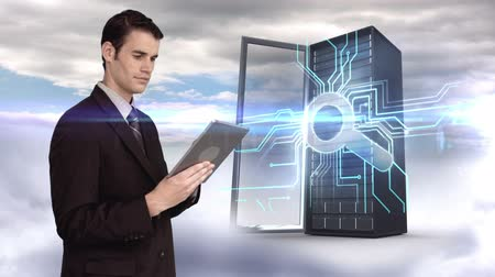 zvědavý : Digital animation of businessman using tablet computer in front of server tower on sky background