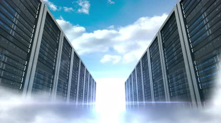 databáze : Digital animation of server tower on cloudy sky background