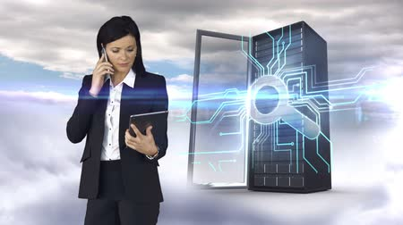 keşfetmek : Digital animation of businesswoman having phone call and holding tablet computer in front of server tower