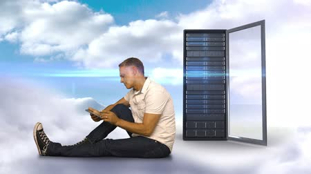 dokunaklı : Digital animation of casual man using his smartphone in front of server tower