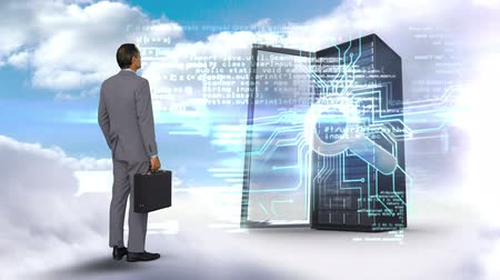 zvětšit : Digital animation of businessman looking at server tower on cloudy sky background
