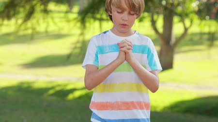 dua eden : Little boy saying his prayers in the park on a sunny day Stok Video