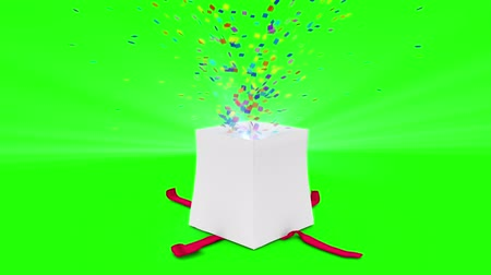 подарок : Digital animation of birthday gift exploding on green screen