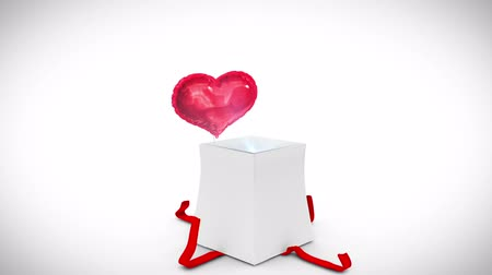 balonlar : Digital animation of birthday gift exploding and revealing heart on white background
