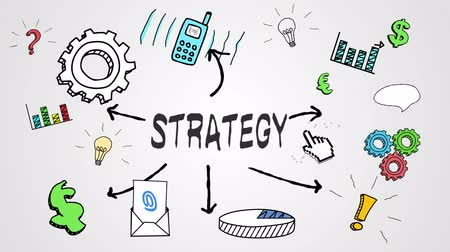 esquema : Digital animation of strategy concept on white background Stock Footage