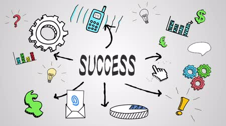 sucesso : Digital animation of success concept on white background