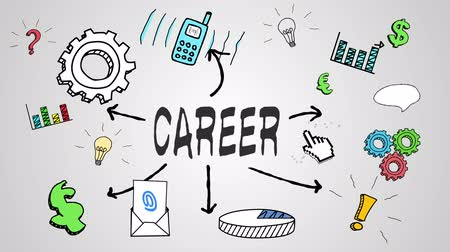 praca : Digital animation of career concept on white background