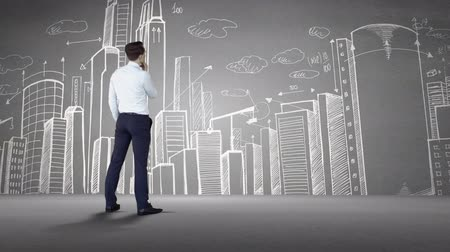 podnikatel : Digital animation of Businessman looking at cityscape doodle