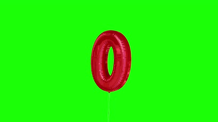 sıfır : Digital animation of red zero balloon floating to the top against greenscreen