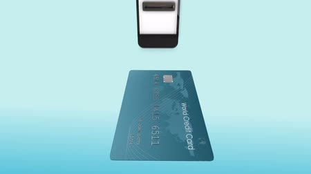 chip and pin : Digital animation of express paying with mobile wallet against blue background Stock Footage
