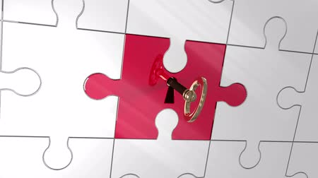 tuşları : Digital animation of key unlocking red piece of puzzle showing strategy Stok Video